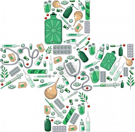 Illustration for Pharmacy cross from the individual elements - Royalty Free Image