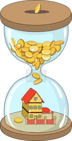 Illustration pour Illustration dans le style dessin animé : bâtiment de la maison (l'argent se transforme en un bâtiment dans le sablier ) - image libre de droit