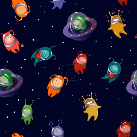 Seamless background: aliens in a cartoon style...