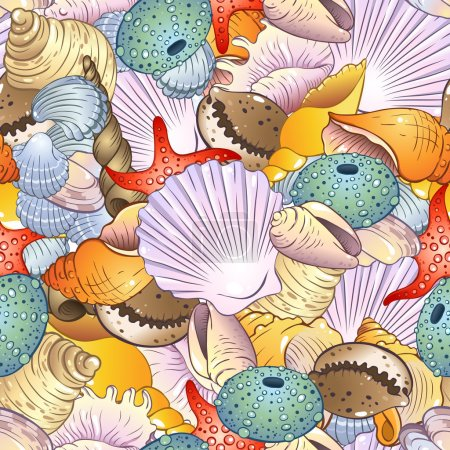 Illustration for Bright seamless pattern with sea shells - Royalty Free Image
