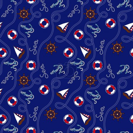 Illustration for Blue marine seamless pattern with nautical objekts - Royalty Free Image