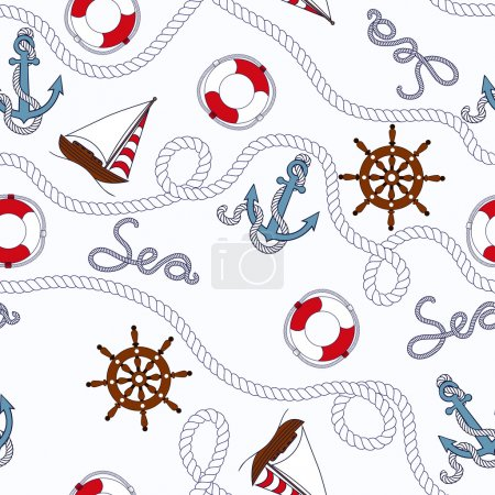 White marine seamless pattern