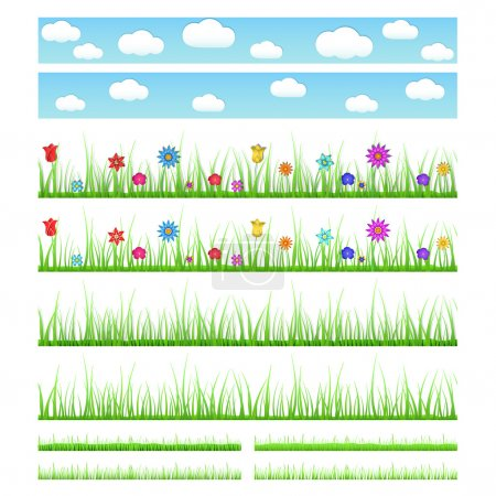 Illustration for Set of seamless grass with flowers and without, with shadows and without, big and small. Seamless sky with clouds. - Royalty Free Image