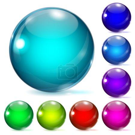 boules de verre multicolores