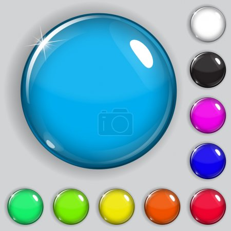 Illustration for Set of multicolored glass buttons with shadows - Royalty Free Image