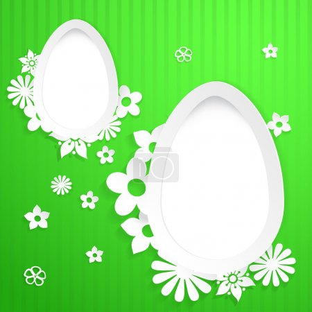 Background with eggs and paper flowers on green