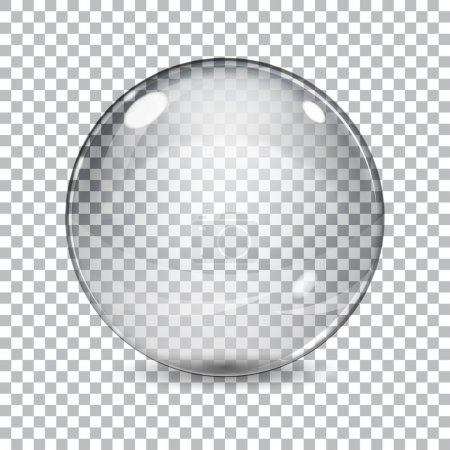 Illustration for Transparent  glass sphere with shadow on a plaid background - Royalty Free Image