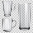 Two transparent glass cups and one glass for juice...