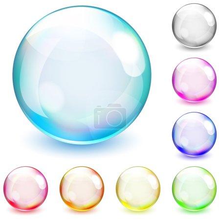 Illustration pour Ensemble de sphères opaques multicolores sur fond blanc - image libre de droit