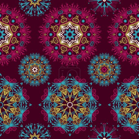 Illustration for Beautiful mandalas. Abstract seamless background with trendy elements.Vector pattern for web-design, textile, graphic design. - Royalty Free Image