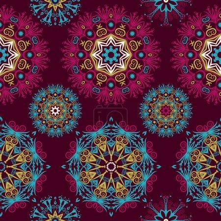 Illustration pour Beaux mandalas. Fond abstrait sans couture avec des éléments branchés.Modèle vectoriel pour web-design, textile, graphisme . - image libre de droit
