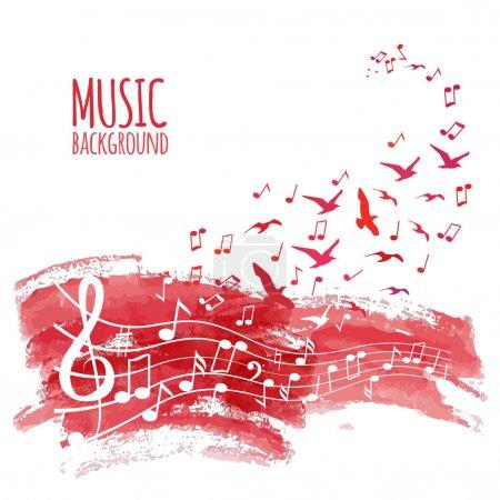 Illustration pour Diverses notes de musique sur portée, illustration - image libre de droit