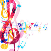 Abstract music background with various music notes and treble clef illustration