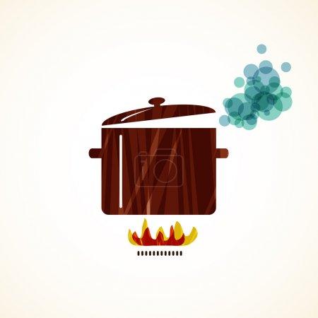 Illustration for Boiling pot on fire. illustration - Royalty Free Image