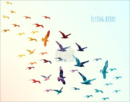 Colorful silhouettes of flying birds, illustration...