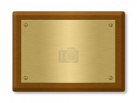 Photo pour Plaque ou signe constitué d'une plaque d'or sur bois. Isolé sur White. Chemin de coupe inclus . - image libre de droit