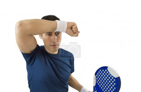 wiping sweat after losing service