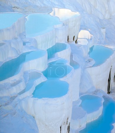 Turquoise water travertine pools at