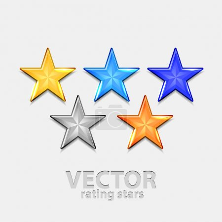 Illustration for Shiny colorful vector stars for rating (yellow, blue and orange) - Royalty Free Image