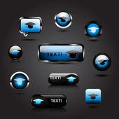 Vector graduation cap buttons