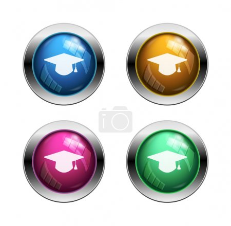 Vector graduation hat buttons