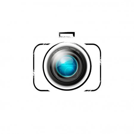 Vector camera icon: colorful lens on black outline...