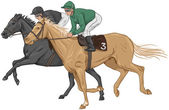 Two jockeys on their racehorses