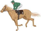 Jockey on a palomino racehorse