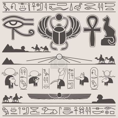 Collection of egyptian vector design elements...