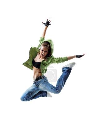Photo pour Danseur de style moderne posant sur fond blanc - image libre de droit