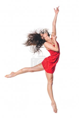Photo for Young beautiful dancer posing on studio black background - Royalty Free Image