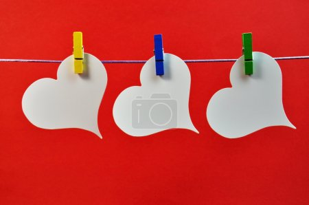 Blank Message Hanging Three Heart Decorations