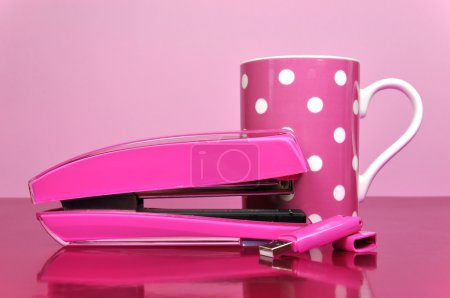 Pink Stapler, Pen Drive and Polka Dot Coffee Mug