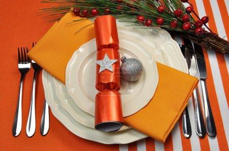 Orange Christmas Table Setting