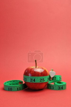 New Year Resolution Goal Lose Weight Concept. with Red Background (vertical)