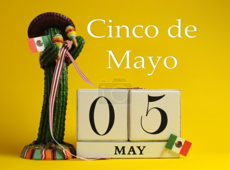 Calendar for Cinco de Mayo May 5, with fun Mexican cactus and flags