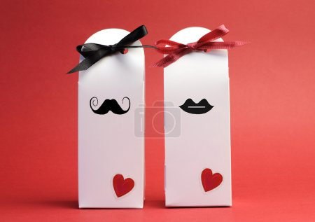Valentine couple, or love theme, his and hers white gift boxes