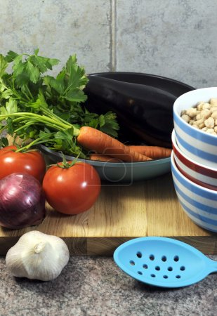Vegetarian cooking and food preparation for healthy diet concept