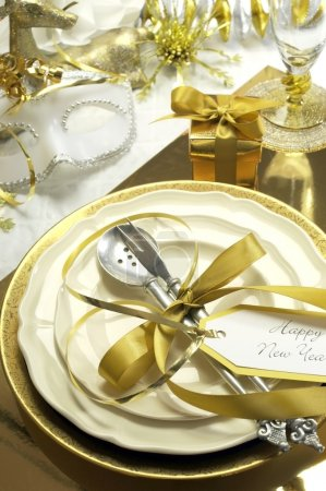 White and gold theme elegant Happy New Year table setting