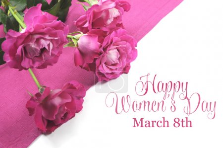 Photo for Happy International Womens Day, March 8, celebration greeting message with pink roses. - Royalty Free Image