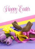 Barevné téma růžové, fialové a žluté happy Velikonoční čokoládové vejce
