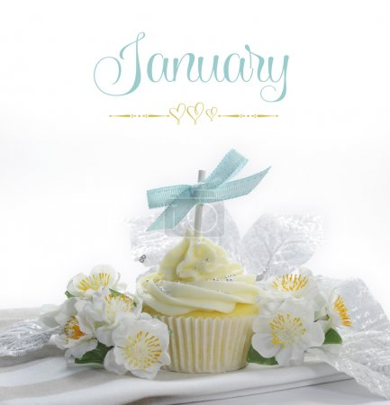 Beautiful cupcake with seasonal flowers and decorations for each month of the year sample text