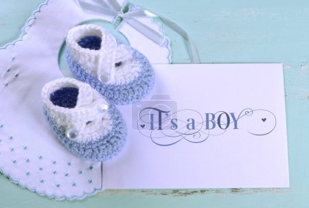 Baby boy nursery blue and white wool booties, bib and card with