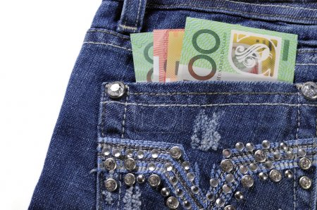 Australian money in back pock of feminine ladies rhinestone deco