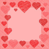 Valentine's Day Card in scribbled lines in coral and pink colors
