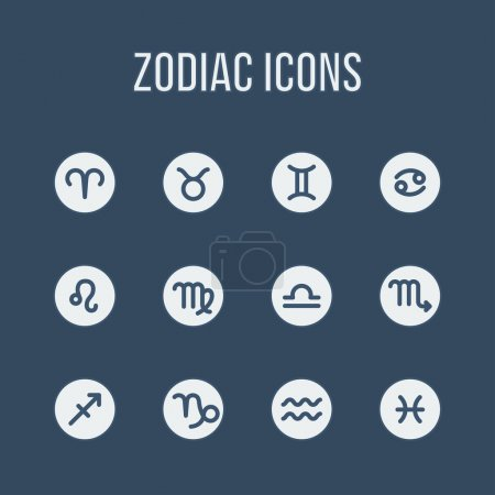 Illustration for Zodiac signs in flat style. Set of simple round icons. Vector illustration. - Royalty Free Image