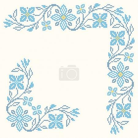 Illustration pour Eléments de design pour la broderie au point de croix dans le style ethnique traditionnel ukrainien. Couleurs bleues, illustration vectorielle . - image libre de droit