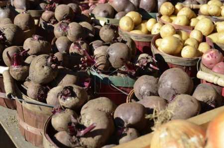 Beets and Potatoes for sale at a local Farmers Market