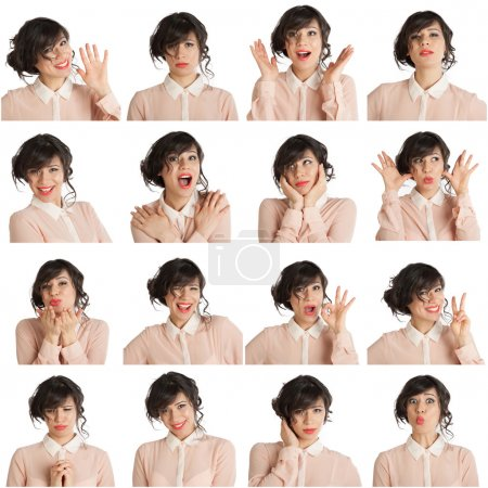 Photo for Collage of a woman with different facial expressions on a white background - Royalty Free Image