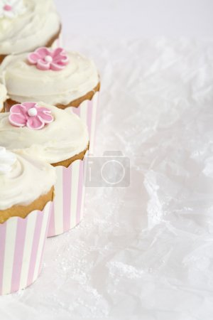 Pink and white striped cupcakes horizontal